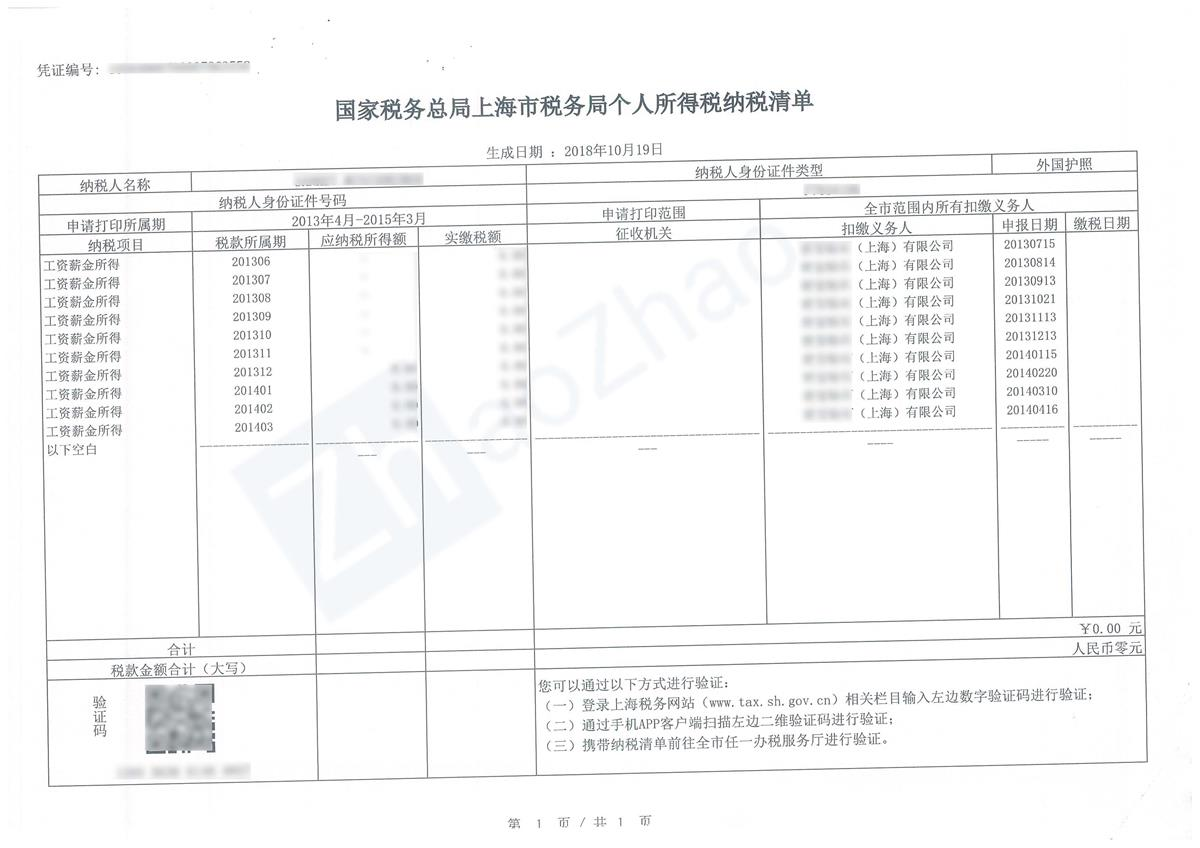 Sample Individual Income Tax Payments List